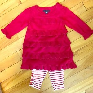 Baby Gap Ruffle Sweater Dress Set 3-6 M